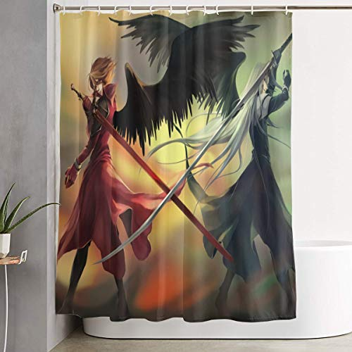 Teri?D?Deas Final Fantasy Crisis Core Anime Shower Curtain with Hook Shower Curtain Waterproof, Shower Curtain,60x72 Inch