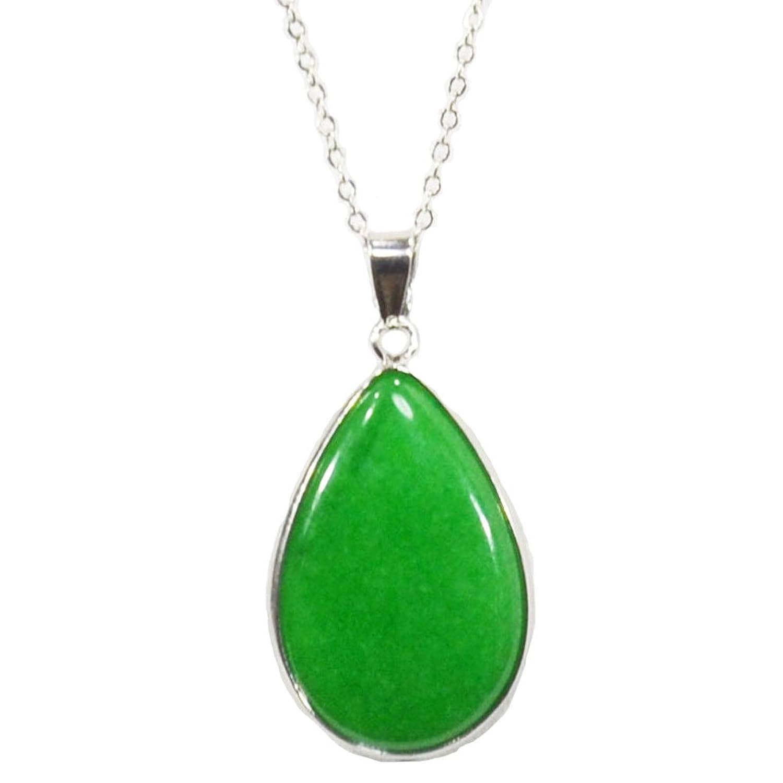 【OMAMORI-DO】翡翠 長さを選べるドロップ型ネックレス 70cm 天然石 パワーストーン B01B4T05QO 70.0 センチメートル