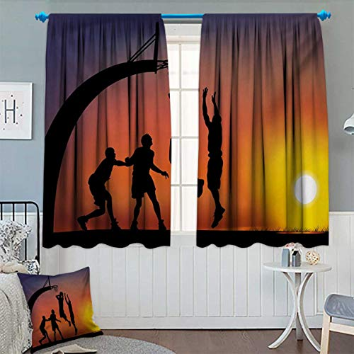 "Chaneyhouse Teen Room Patterned Drape for Glass Door Boys Playing Basketball at Sunset Horizon Sky with Dramatic Scenery Waterproof Window Curtain 72"" W x 63"" L Dark Coral Black Yellow from Chaneyhouse"