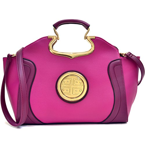 Dasein Flat Bottom Emblem A-Symmetrical Handbag Designer Shoulder Bag w/Removable Shoulder Strap (Z-Purple) ()
