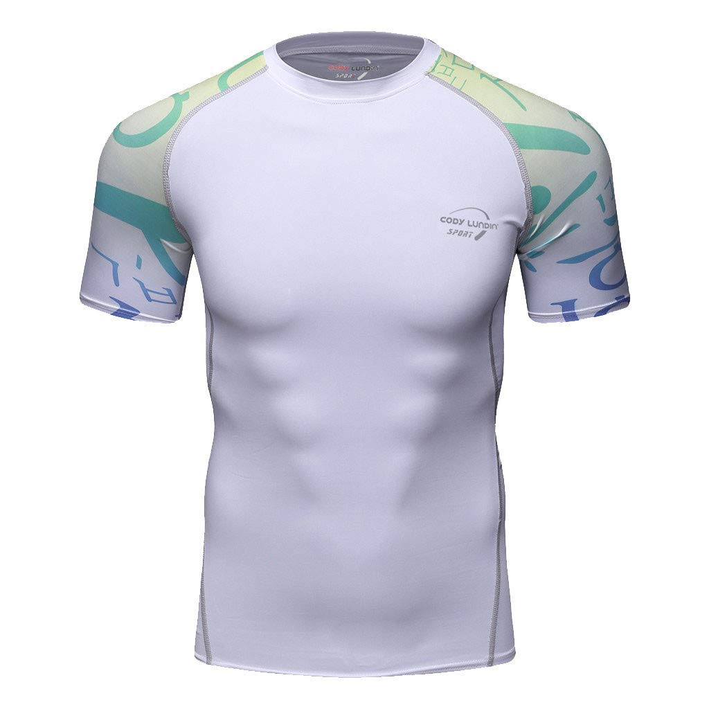 Zackate Mens Short Sleeve Compression Baselayer Athletic Workout White Top Patchwork Sweatshirts T-Shirts