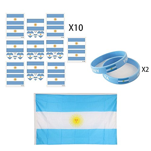 KingShark World Cup 2018 Set, Football Suit Fans Scarf, Argentina, Hand Held Flags, Big National Flag, Tattoo Stickers, Silicone Wristbands, Party Club Bar Decorations Festival Celebration