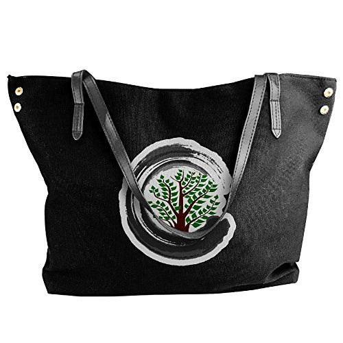 Tree Messenger Canvas Handbag Tote Bonsai Black Tote Hobo Women's Bag Large Zen Shoulder nO8qfUYwU