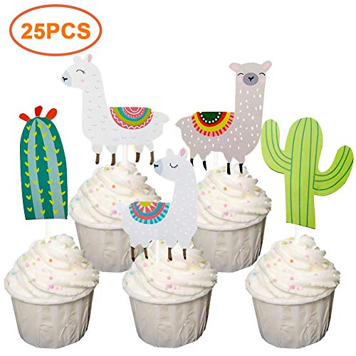 25 PCS Llama Alpaca Cactus Cupcake Toppers Cake Picks Décor for Mexican Themed Party, Baby Shower and Birthday Party