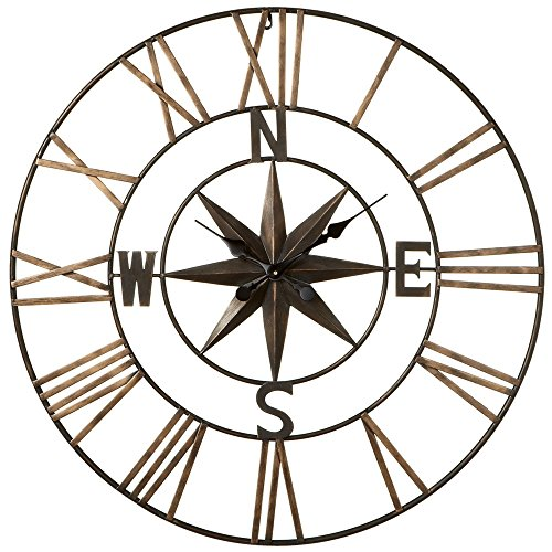 Midwest CBK Star with Compass Rose Large Metal Wall Clock 32