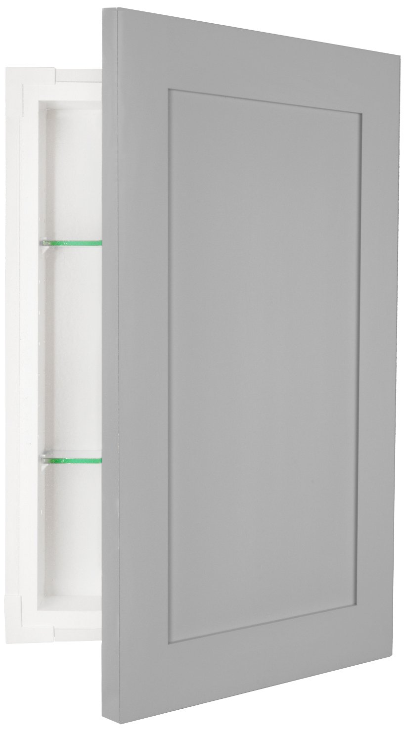 WG Wood Products FR-224-Primed Shaker Style Frameless Recessed In Wall Bathroom Medicine Storage Cabinet-Multiple Finishes, ready to paint/Uncoated, Primed