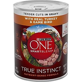 Purina ONE Natural, High Protein Gravy Wet Dog Food, SmartBlend True Instinct Turkey & Game Bird - (12) 13 oz. Cans