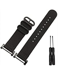 Efitty Luxury Nylon 3 Ring Lugs Watch Band Strap Replacement + Adapters For Suunto Core (Black)