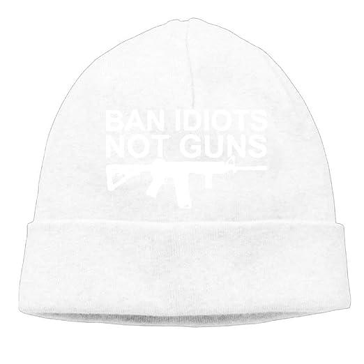 16bff3c1 Skull Cap Knitted Hat Mens Ban Idiots Not Guns Funny Skiing Beanies ...