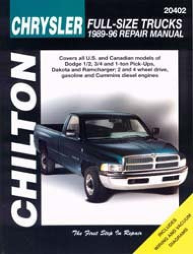 CH20402 Chilton Dodge Pick-ups 1989-1996 Repair Manual