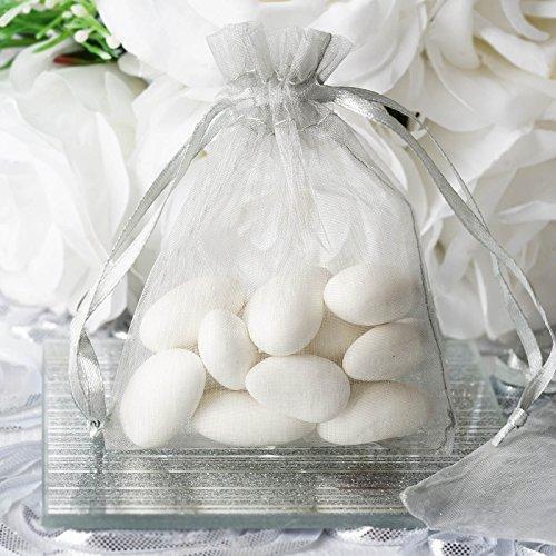 50 pcs 3x4 inch Organza Drawstring Bags Pouches - Wedding Favors Silver
