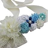 Maternity, Pregnancy Photography Baby Shower Flower Sash Belt (Blue)
