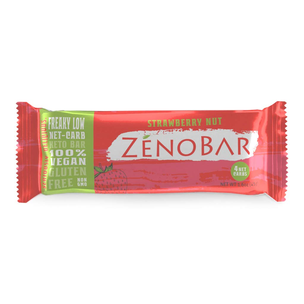 ZenoBar Keto Low Carb Energy Bar, 1.6 oz (Strawberry Nut, 6-Pack): Vegan, Whole Foods, Low Glycemic, Perfect for Keto, Diabetic, and High Fat Diets by ZenoBar