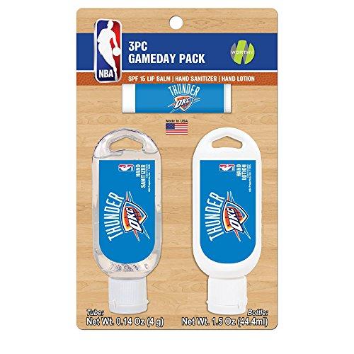 Oklahoma 3 Piece Bath - NBA Oklahoma City Thunder Game Day Pack Includes 1 Lip Balm, 1 Hand Sanitizer and 1 SPF Sunscreen (3-Piece), 8 x 5 x 1.5-Inch, White