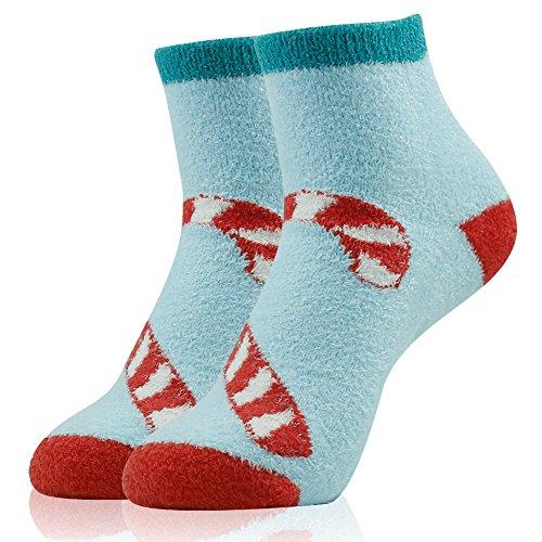 Warm Slipper Socks,Womens Super Soft Cozy Candy Cane Winter Anti Slip Grip Fuzzy Socks Christmas Gift Vive Bears 1 Pair