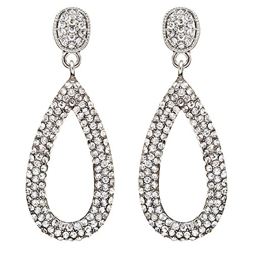 Bridal Wedding Jewelry Crystal Rhinestone Charming Tear Drop Earrings E735Silver by Accessoriesforever (Image #5)