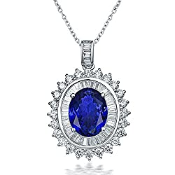 White Gold Tanzanite Diamond Pendant Necklace