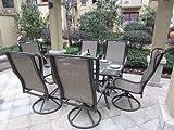 Pebble Lane Living 7pc Grand Regent Swivel Rocking Sling Patio Dining Furniture Set For Sale