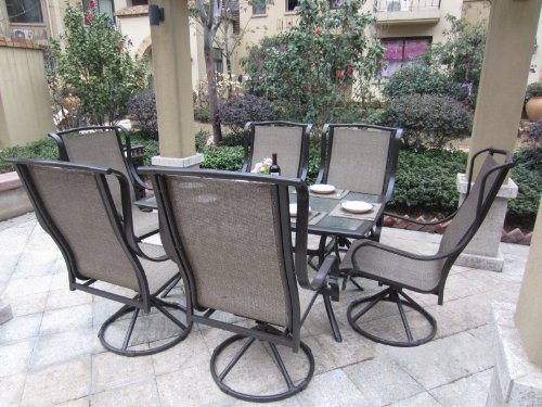Dining Acrylic Sets (Pebble Lane Living 7pc Grand Regent Swivel Rocking Sling Patio Dining Furniture Set)
