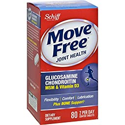 Schiff Move Free Advanced Triple Strength Plus MSM and Vitamin D3 - 80 Coated Tablets - Starts Comforting Sore Joints in Less Than 7 Days