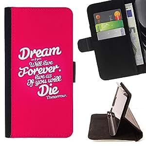 BullDog Case - FOR/Samsung Galaxy S4 IV I9500 / - / dream forever die pink white text inspiring /- Monedero de cuero de la PU Llevar cubierta de la caja con el ID Credit Card Slots Flip funda de cuer