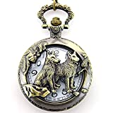 Engraved German Shepherd Half Hunter Pocket Watch with Chain