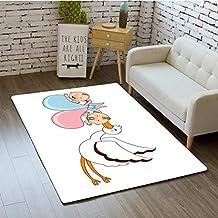 3D Printing Gender Reveal Babies with Stork Mythical Congratulation Playroom Baby Shower Kids Theme Bathroom Carpet Flannel Foam Shower mat Absorbent Living Room Kitchen Door Carpet Floor mat