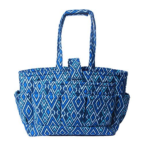 Floral Quilted Cotton Needle Bag Knitting Bag Yarn Storage Tote (Azure)