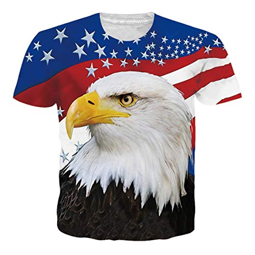 Belovecol 4th of July Shirts for Men Women USA Flag Eagle Graphic Casual Patriotic Apparel Summer Casual Short Sleeve Tees T Shirts M ()