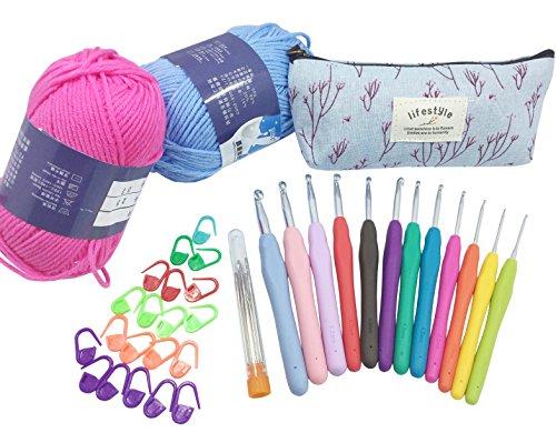 Misscrafts Large-Eye Blunt Needles Yarn Knitting Plus Crochet Hooks Set with Case,Ergonomic Handle Crochet Hooks Needles for Arthritic Hands by Misscrafts