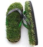 GFF Grass Flip Flops Medium (9.5-10.5), Black Green