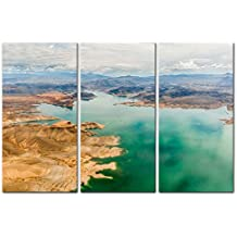 3 Pieces Modern Canvas Painting Wall Art The Picture For Home Decoration Lake Mead Grand Canyon In Green And Red Colors National Park Arizona Usa Landscape Canyon Print On Canvas Giclee Artwork For Wall Decor