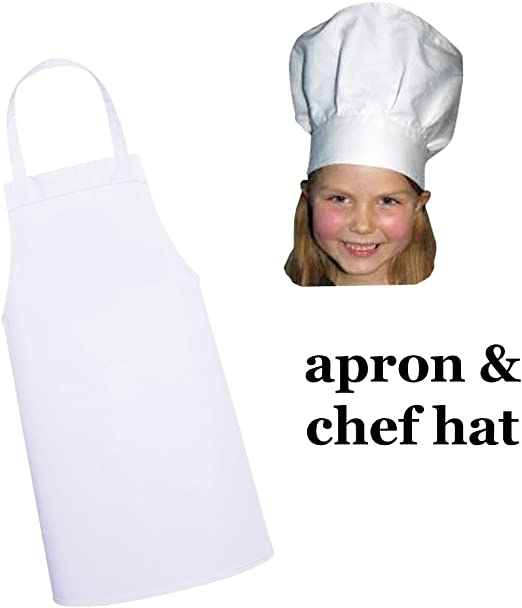 official supplier wholesale outlet wide range Twinklebelle White Kids'Apron and Chef hat Set for Kitchen, Dress-up or  Craft Party (M: 3-9 Years)
