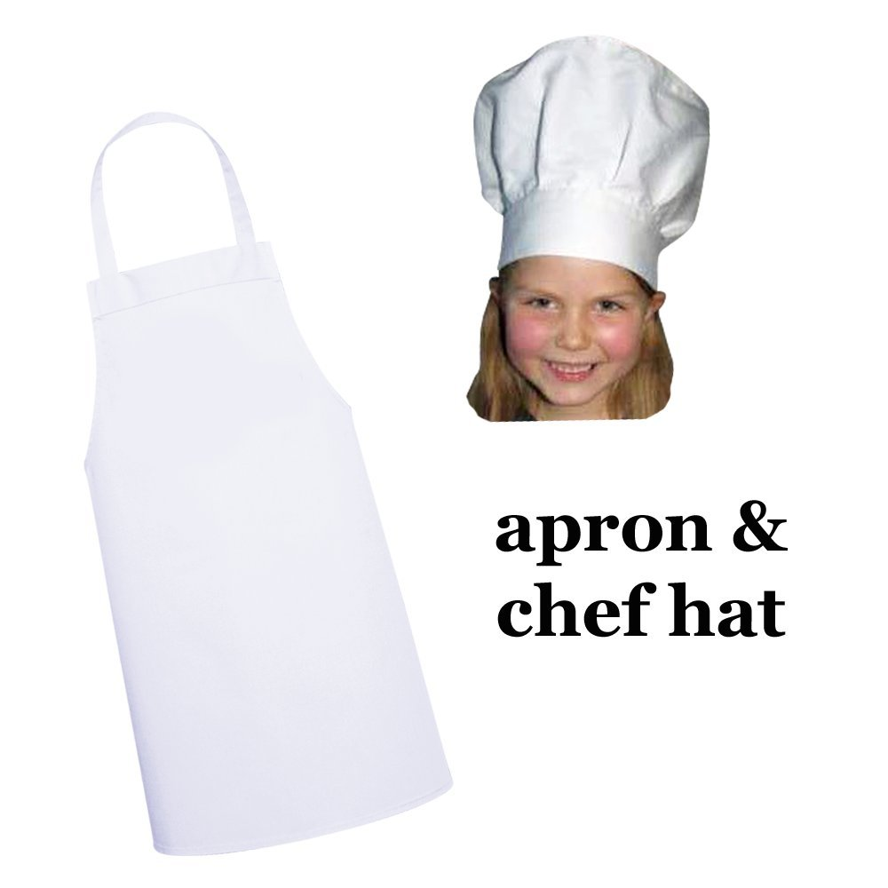 White kids'apron and chef hat set for kitchen, dress-up or craft party (M: 3-9 Years) Twinklebelle Design Inc.
