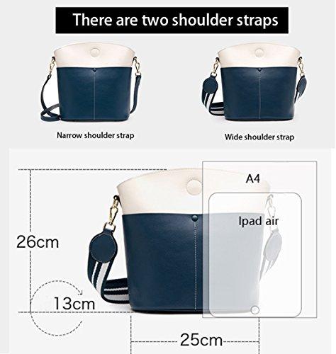 Messenger Donna Rosso Vera Borse Rosso Blu Crossbody Nero SAIERLONG Bags spalla Pelle FO8nqqS1