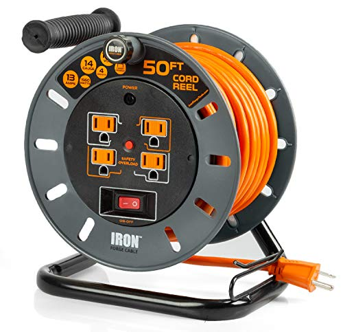 - 50 Ft Extension Cord Reel with 4 Electrical Power Outlets - 14/3 SJTW Heavy Duty Orange Cable