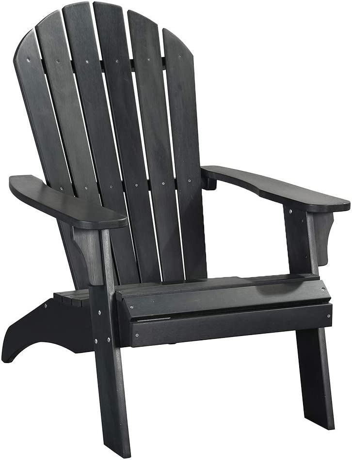 PolyTEAK King Size Adirondack Chair, Black | Adult-Size, Weather Resistant, Made from Special Formulated Poly Lumber Plastic