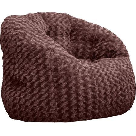 Cocoon Rosette Faux Fur Bean Bag Chair Adult Size, Brown