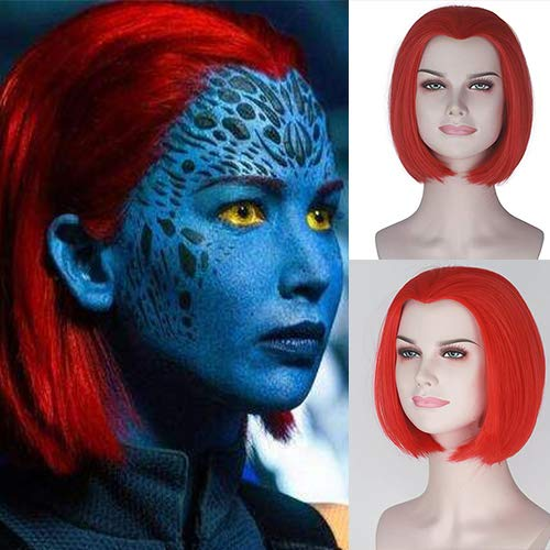 Mystic X Men Halloween Costume (Party Queen The movie X-men:Dark Phoenix Raven Darkholme Mystique Cosplay Wig Synthetic Women Girl's Short Straight Wig Hot Red Color Anime Cosplay Wig)