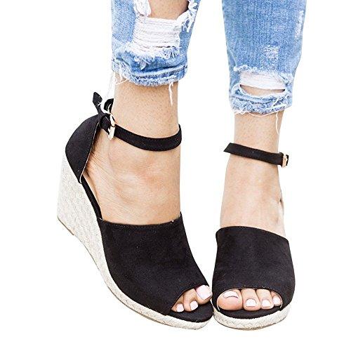 Enjoybuy Womens Summer Espadrille Wedge Sandals Peep Toe Suede Leather Ankle Strap Platform ()