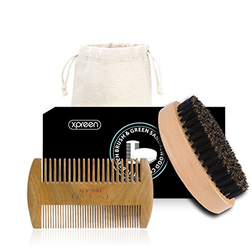 Xpreen Bread Brush and Beard Comb for Men, Dual Action Handmade Sandalwood Shaping Tool with Natural Boar Bristle Brush, Comb Kit for Hair, Beard and …