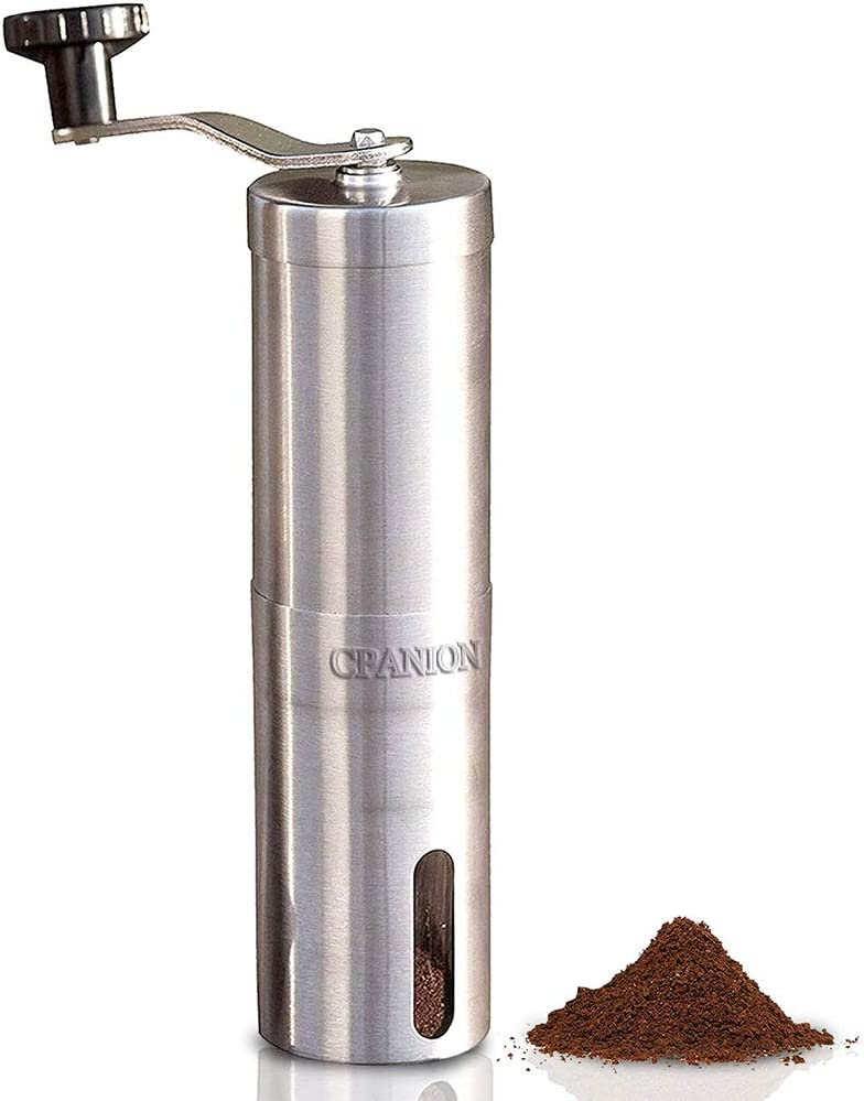 Manual Coffee Grinder with Adjustable Setting,Ceramic Burr Coffee Grinder Portable Brushed Stainless Steel Coffee Bean Grinder for Home Use/Office/Travel/Camping,Hand Crank Conical Burr Mill for Precision Brewing(Silver)