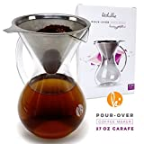 Pour Over Coffee Maker With Handle - Borosilicate Glass Manual Hand Pour-over Coffeemakers, Durable, Scratch Resistant, And Portable (27 oz - 5 Cup)