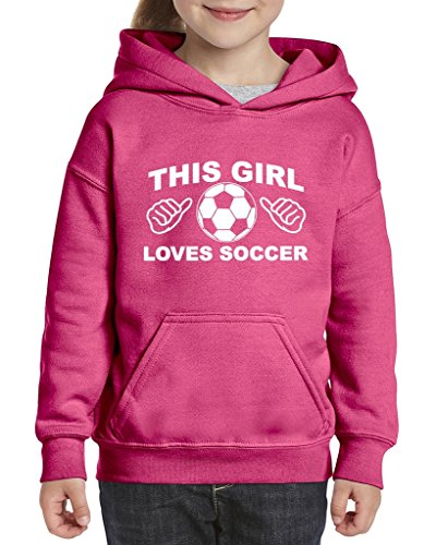 Artix This Girl Loves Soccer Unisex Hoodie For Girls and Boys Youth Sweatshirt Large Azalea Pink