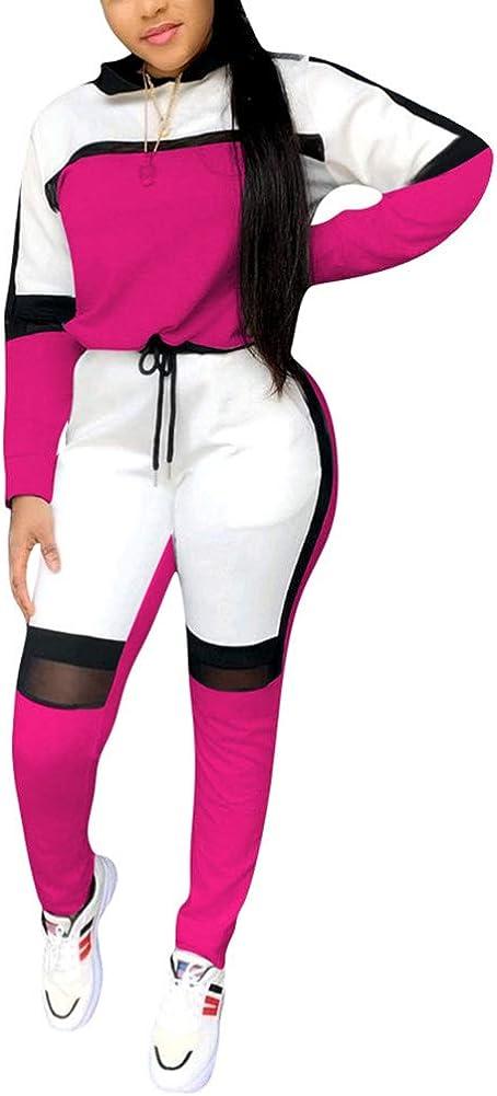 Womens Sexy Mesh Patchwork 2 Piece Outfits Hoodie Jacket Skinny Long Pants Clubwear Tracksuit Sportswear Set