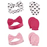 Hudson Baby Baby Headband and Scratch Mitten Set, 6-Piece, Bows, One Size