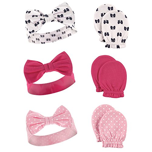 Hudson Baby  Headband and Scratch Mitten Set, 6-piece Accessory, bows, One Size