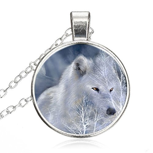 Adjustable Sterling Silver Necklace Winter White Wolf Alloy Pendant Glass Necklace Choker Silver Plating Chain Glass Cabochon