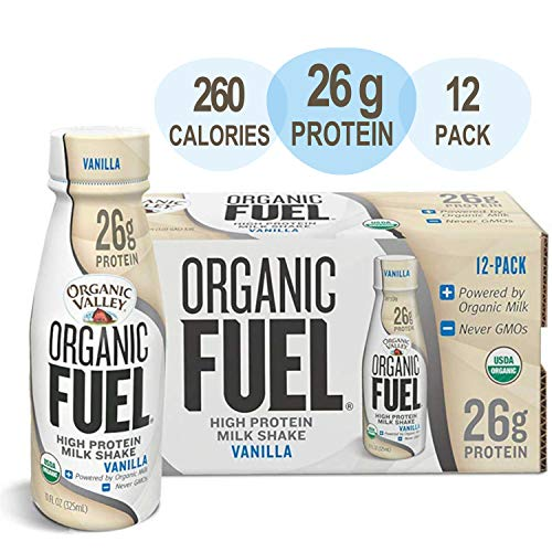 Organic Valley, Organic Fuel High Protein Milk Meal Replacement Shakes, 26G Protein, Vanilla 11 ounces (Pack of 12)