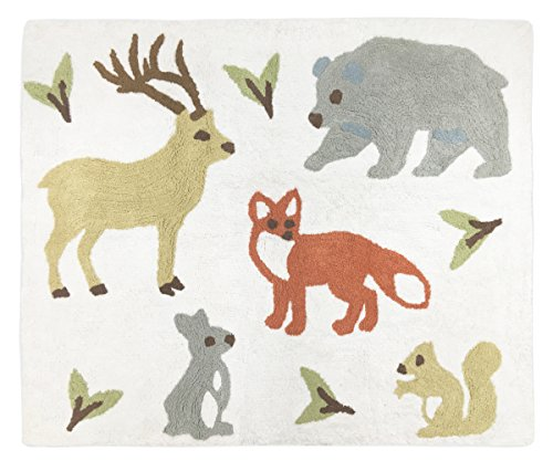 Sweet Jojo Designs Deer, Bear, Fox, Rabbit, and Squirrel Accent Floor Rug Bedroom Decor for Woodland Animal Toile Girl or Boy Kids Bedding Collection